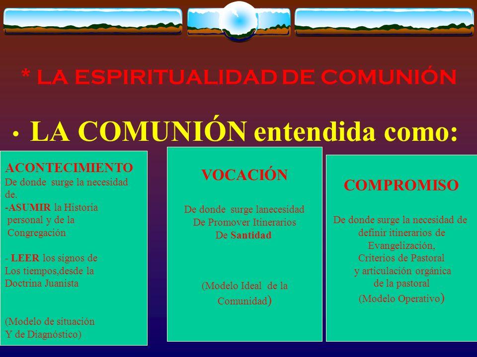 * LA ESPIRITUALIDAD DE COMUNIÓN