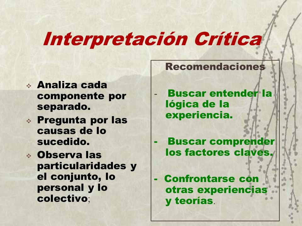 Interpretación Crítica