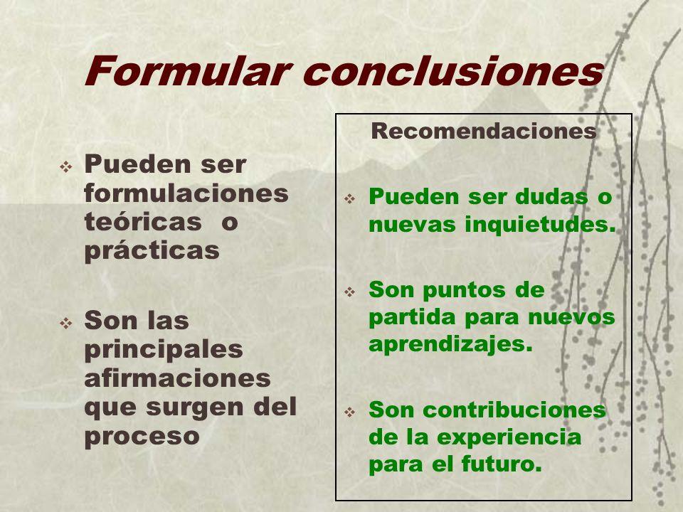 Formular conclusiones