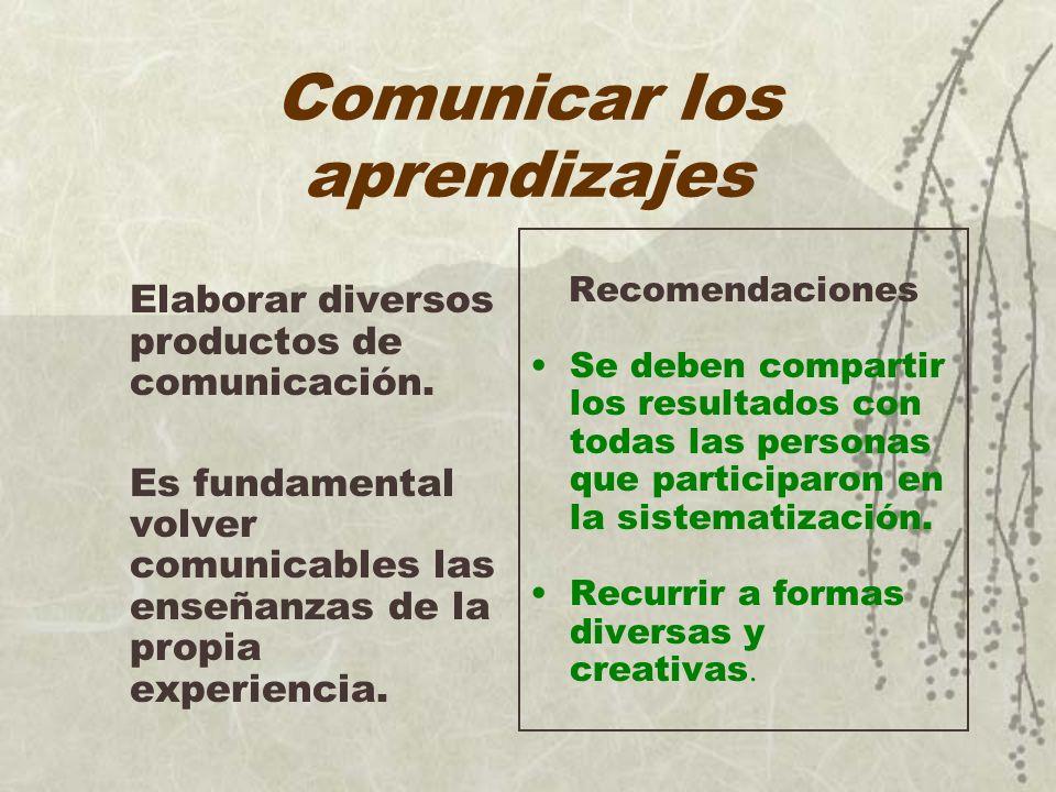 Comunicar los aprendizajes
