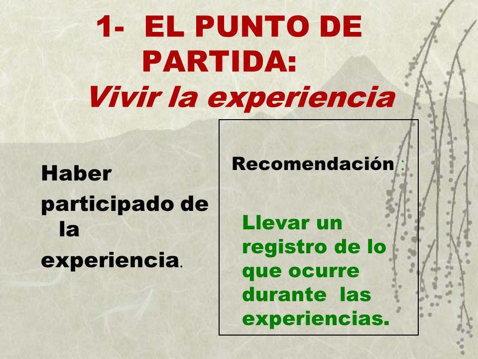 1- EL PUNTO DE PARTIDA: Vivir la experiencia