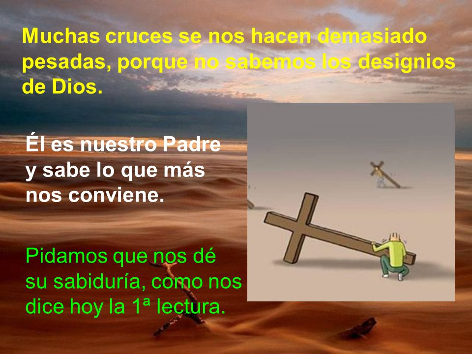 Muchas cruces se nos hacen demasiado pesadas, porque no sabemos los designios de Dios.