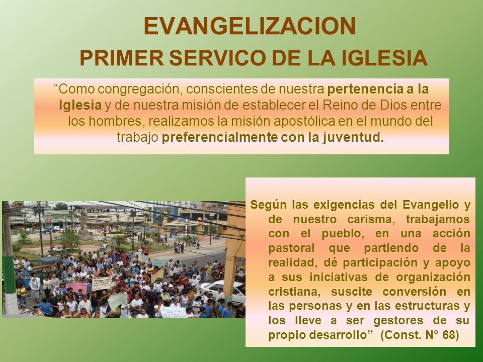EVANGELIZACION PRIMER SERVICO DE LA IGLESIA