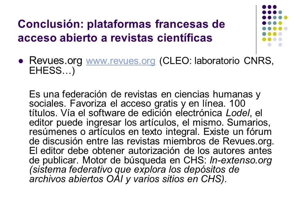 Conclusión: plataformas francesas de acceso abierto a revistas científicas
