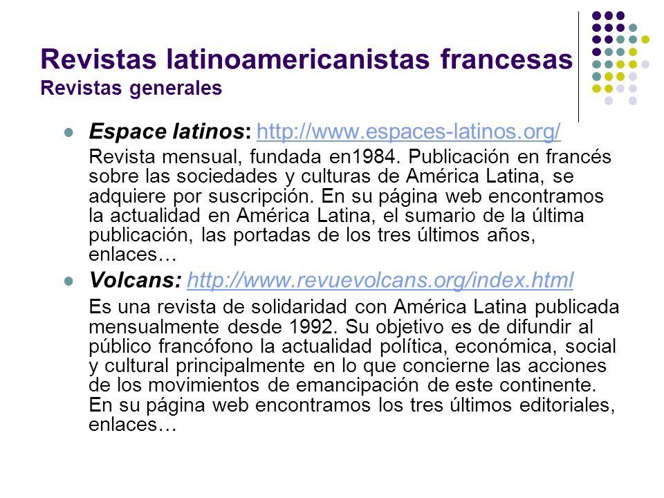 Revistas latinoamericanistas francesas Revistas generales