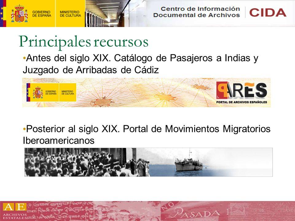 Principales recursos Antes del siglo XIX. Catálogo de Pasajeros a Indias y Juzgado de Arribadas de Cádiz.