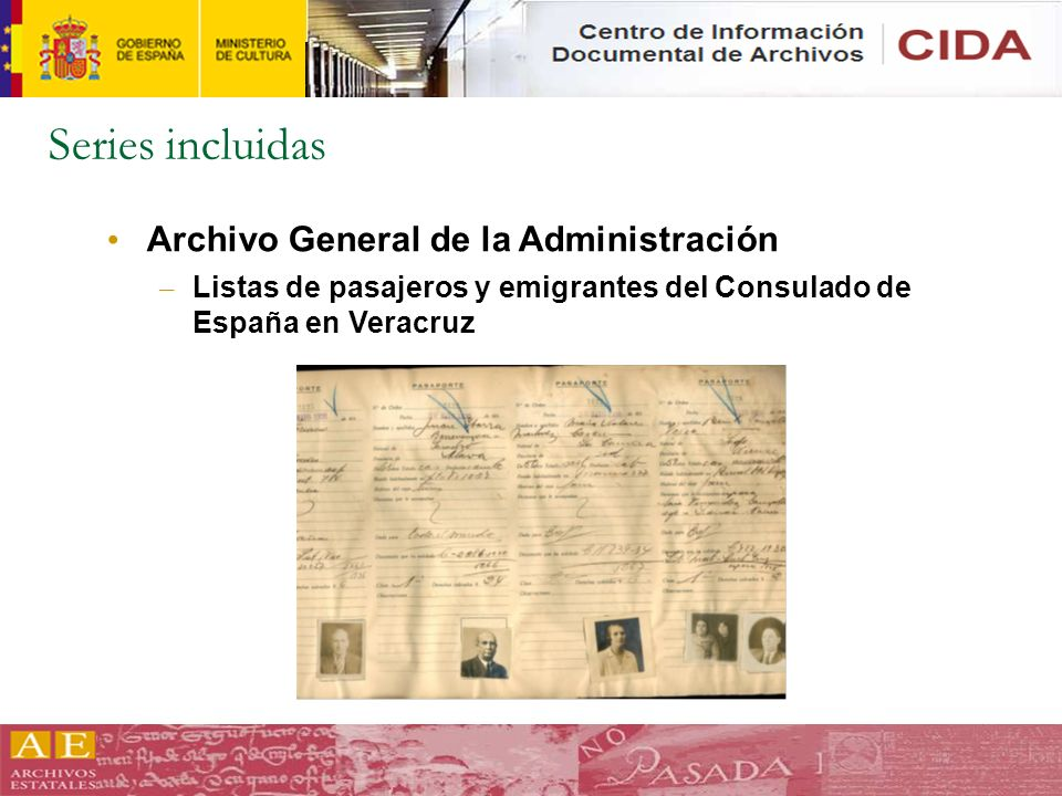 Series incluidas Archivo General de la Administración