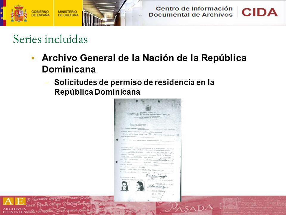Series incluidas Archivo General de la Nación de la República Dominicana.