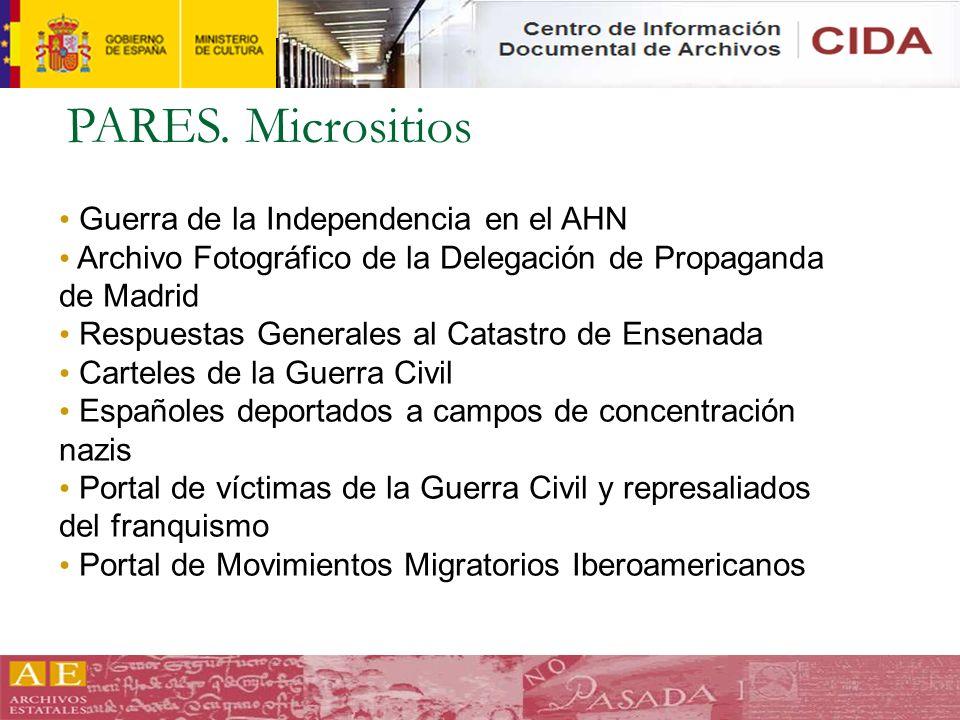 PARES. Micrositios Guerra de la Independencia en el AHN