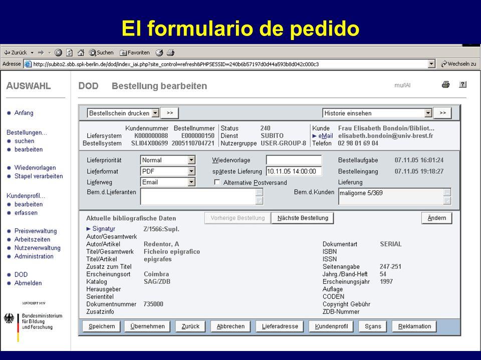 El formulario de pedido