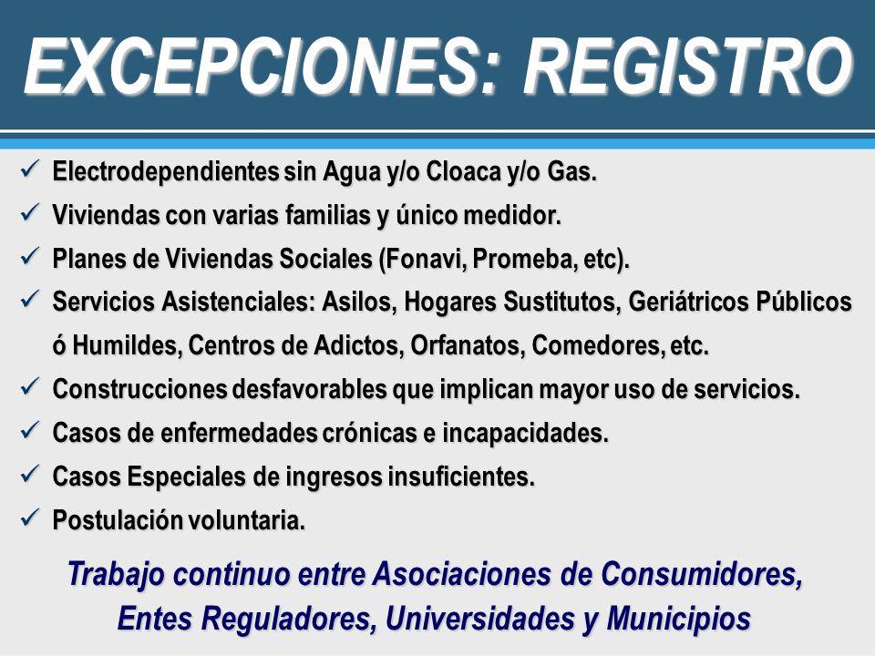 EXCEPCIONES: REGISTRO