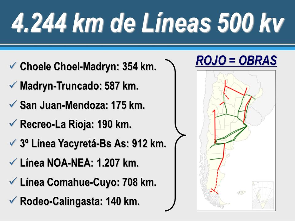 4.244 km de Líneas 500 kv ROJO = OBRAS Choele Choel-Madryn: 354 km.
