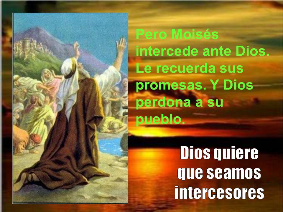 Pero Moisés intercede ante Dios. Le recuerda sus promesas