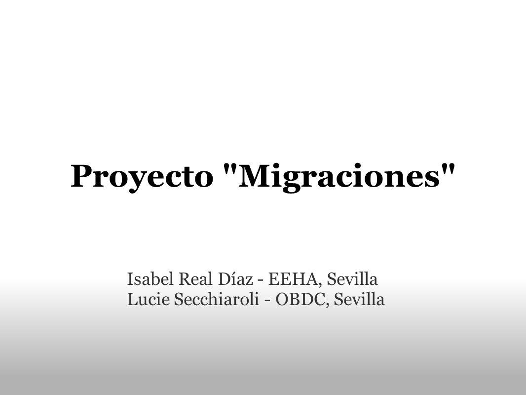 Proyecto Migraciones Isabel Real Díaz - EEHA, Sevilla