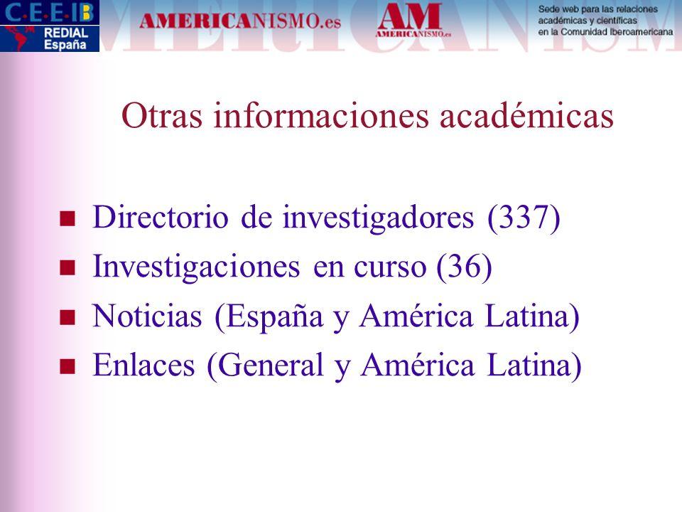 Otras informaciones académicas