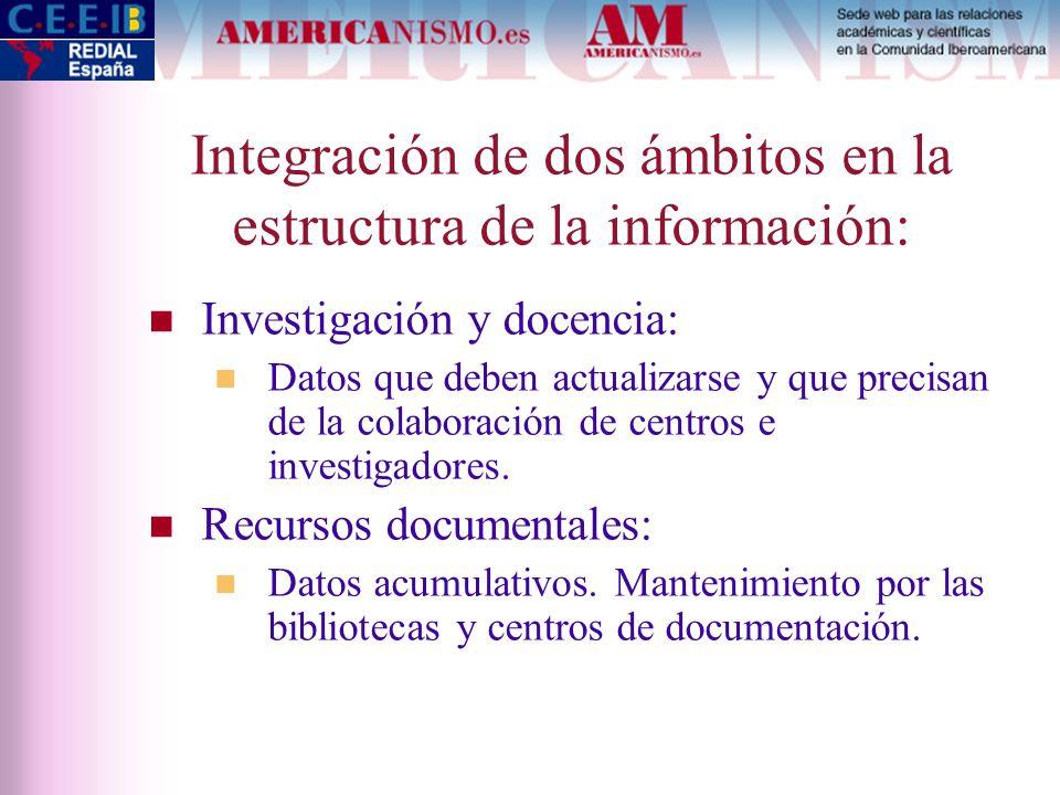 Integración de dos ámbitos en la estructura de la información: