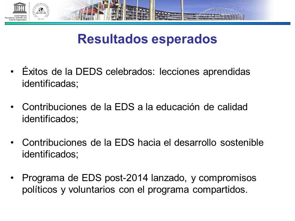 Resultados esperados Éxitos de la DEDS celebrados: lecciones aprendidas identificadas;