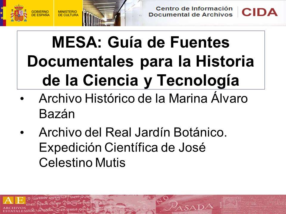 MESA: Guía de Fuentes Documentales para la Historia de la Ciencia y Tecnología