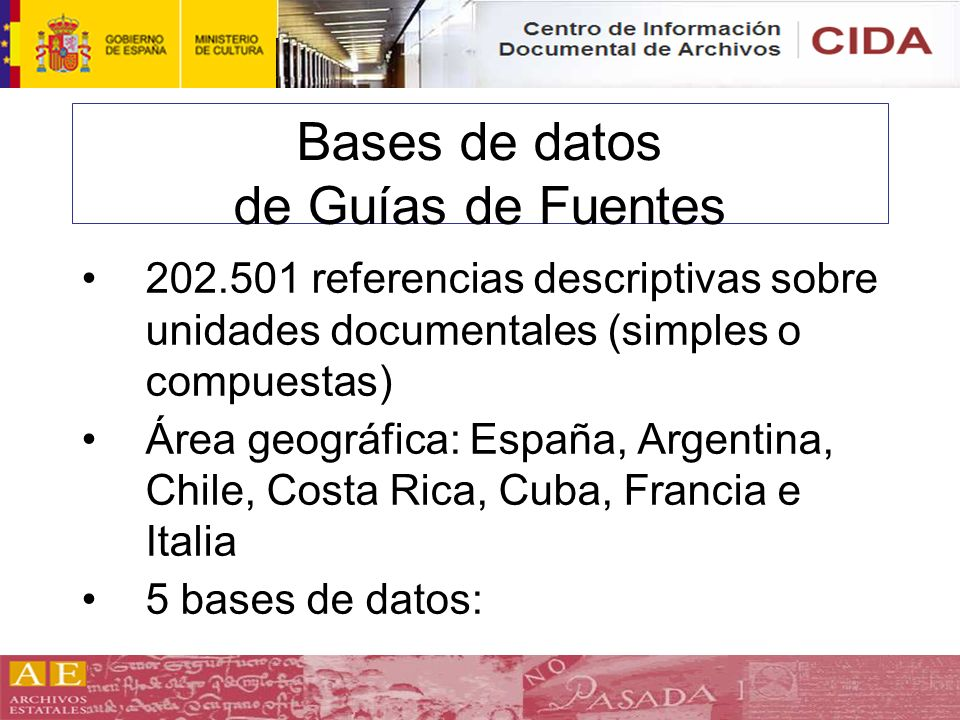 Bases de datos de Guías de Fuentes