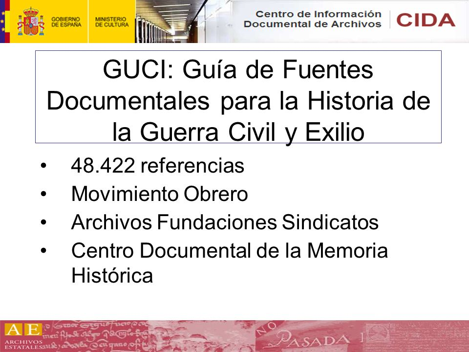 GUCI: Guía de Fuentes Documentales para la Historia de la Guerra Civil y Exilio