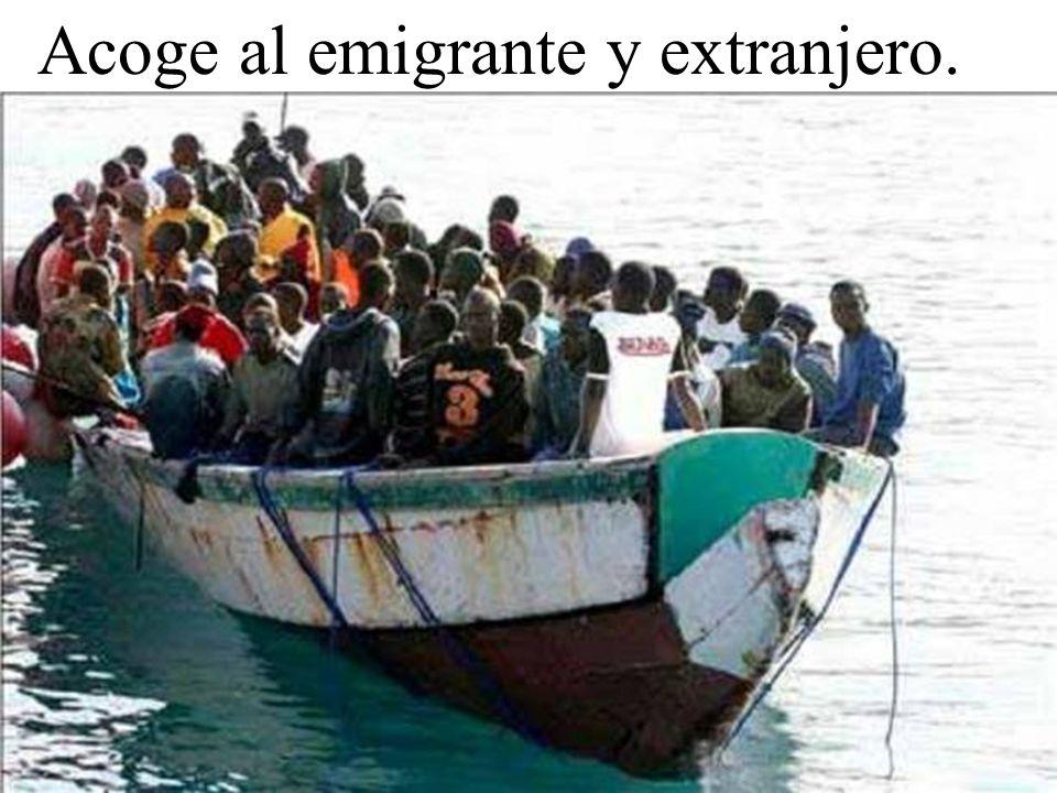 Acoge al emigrante y extranjero.