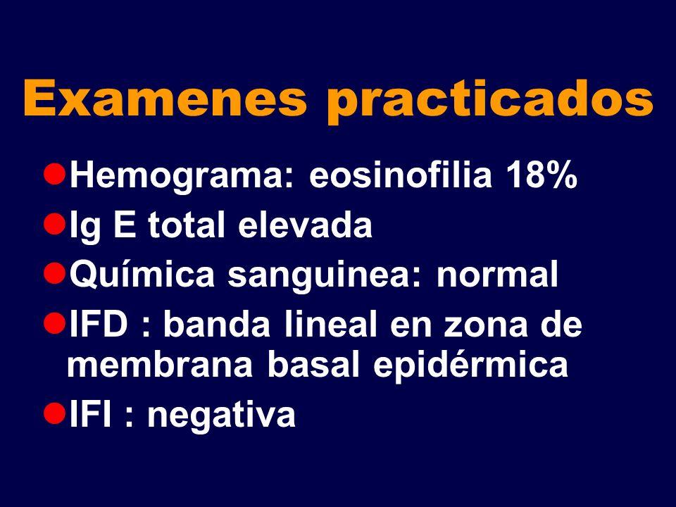 Examenes practicados Hemograma: eosinofilia 18% Ig E total elevada