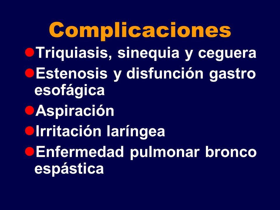 Complicaciones Triquiasis, sinequia y ceguera