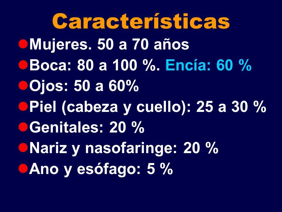 Características Mujeres. 50 a 70 años Boca: 80 a 100 %. Encía: 60 %