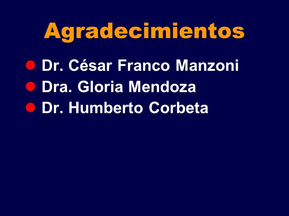 Agradecimientos Dr. César Franco Manzoni Dra. Gloria Mendoza