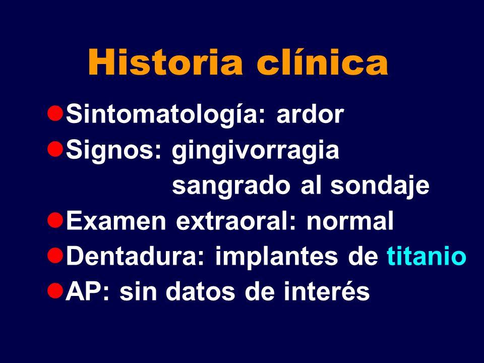 Historia clínica Sintomatología: ardor Signos: gingivorragia