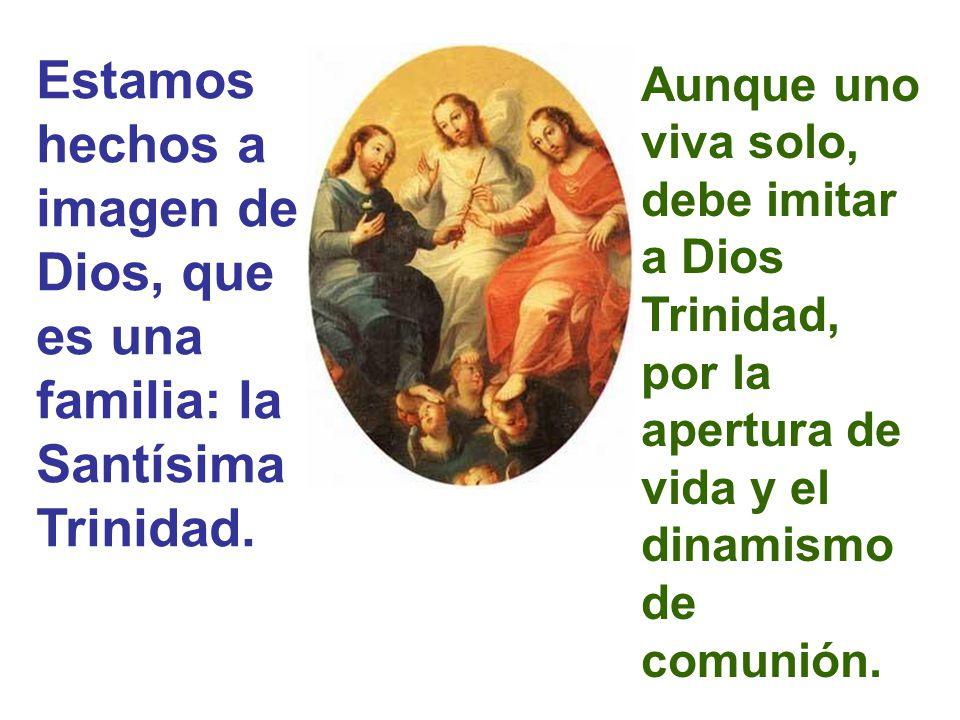 Estamos hechos a imagen de Dios, que es una familia: la Santísima Trinidad.