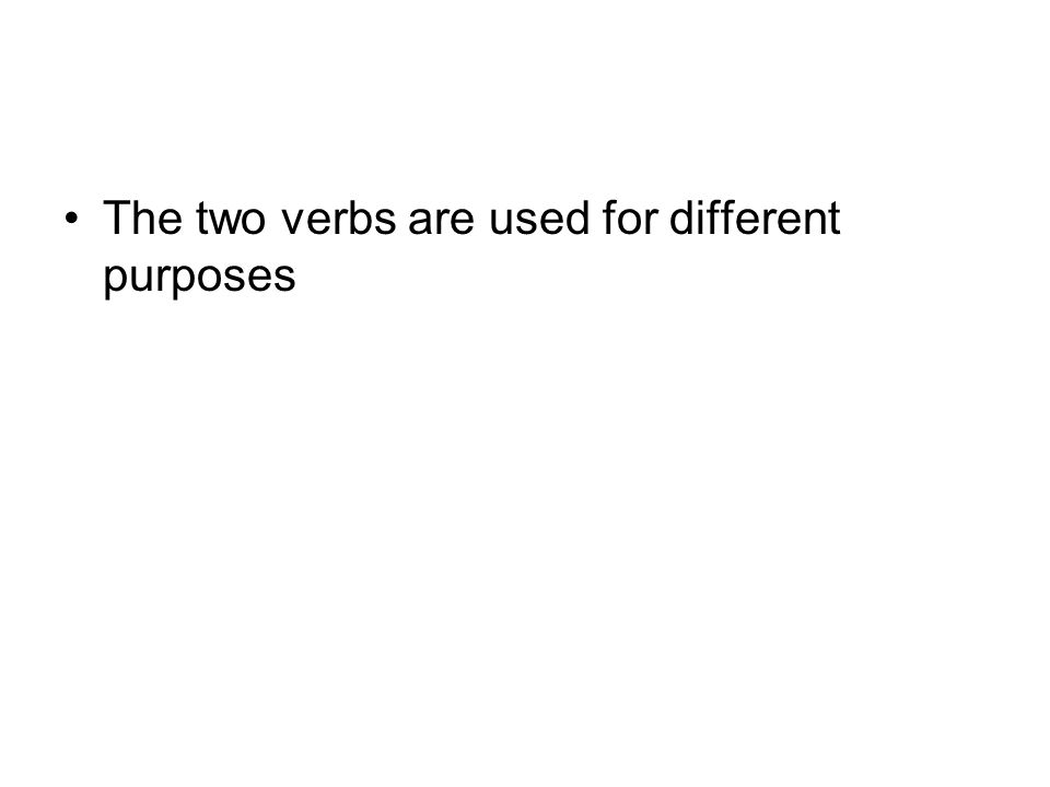 The two verbs are used for different purposes