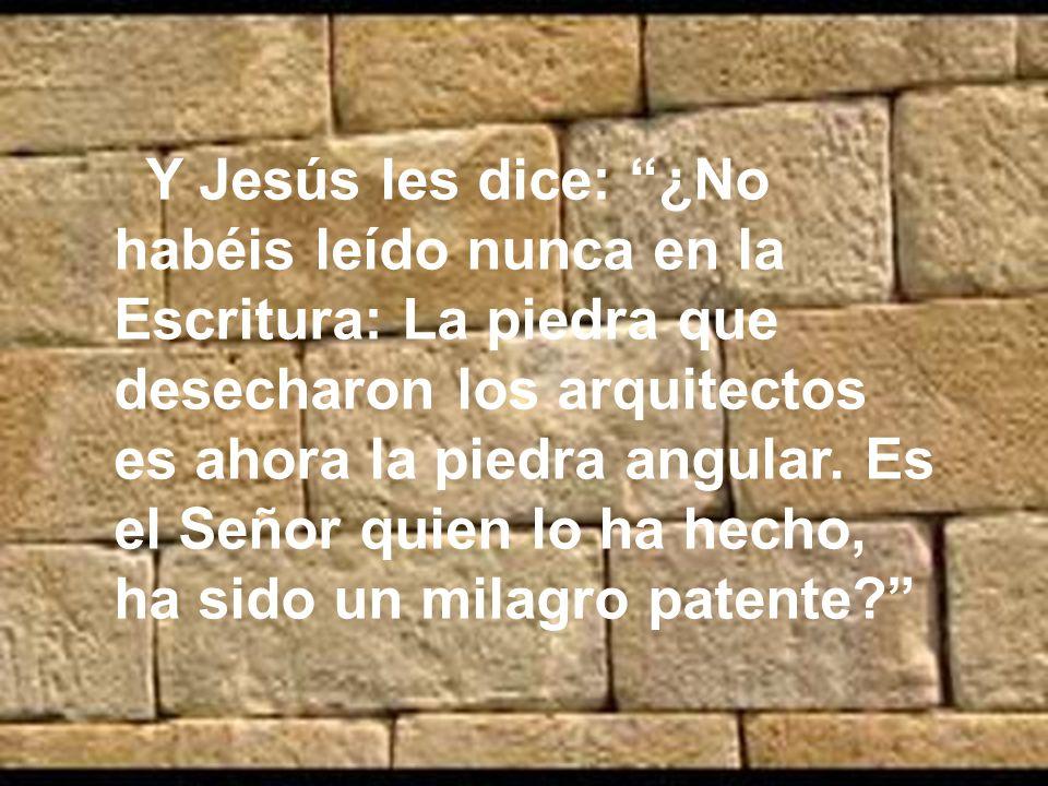 Y Jesús les dice: ¿No habéis leído nunca en la Escritura: La piedra que desecharon los arquitectos es ahora la piedra angular.