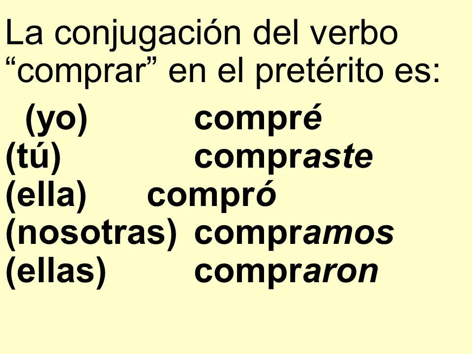 La conjugación del verbo comprar en el pretérito es: