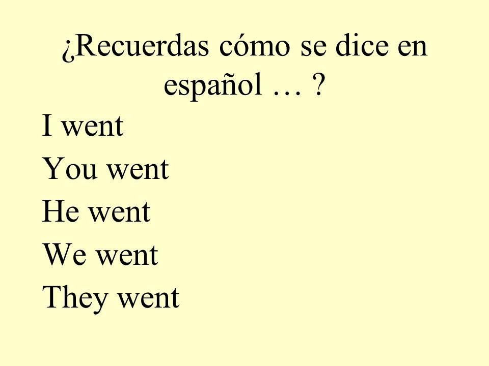 ¿Recuerdas cómo se dice en español …