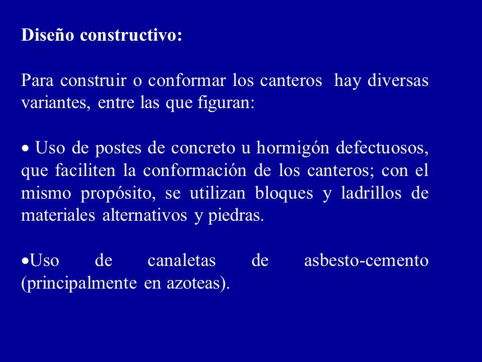 Diseño constructivo: Para construir o conformar los canteros hay diversas variantes, entre las que figuran: