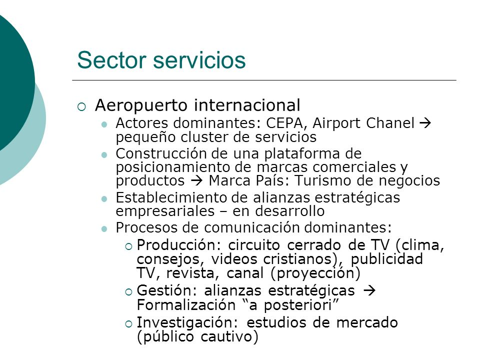 Sector servicios Aeropuerto internacional
