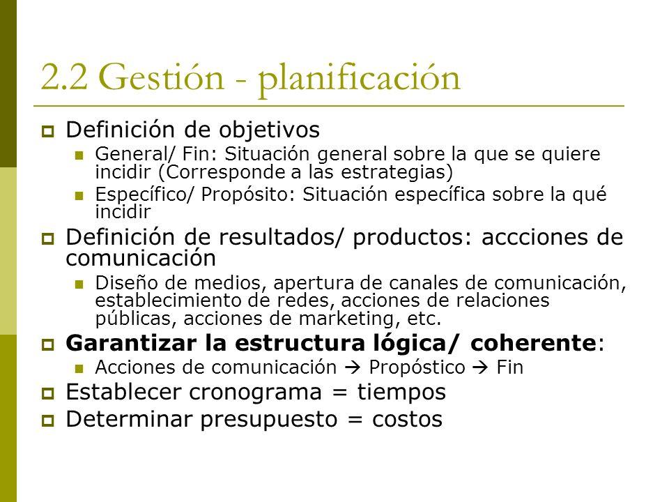 2.2 Gestión - planificación