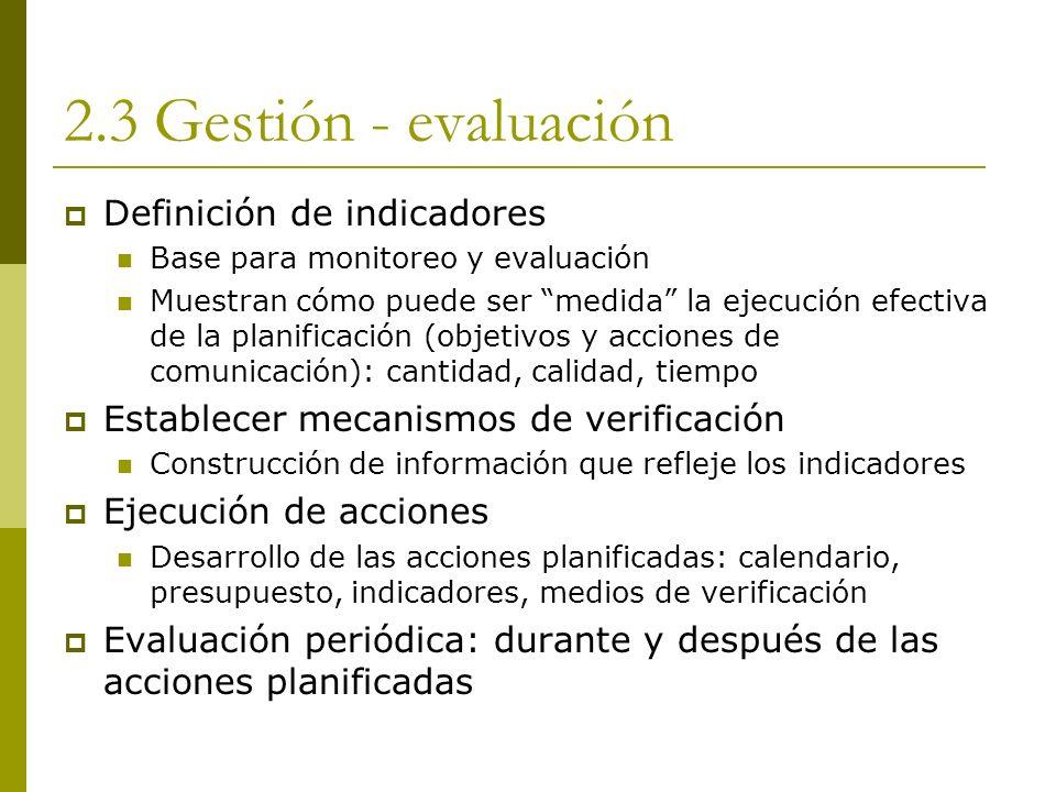 2.3 Gestión - evaluación Definición de indicadores