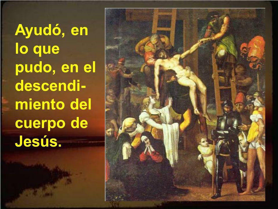Ayudó, en lo que pudo, en el descendi-miento del cuerpo de Jesús.