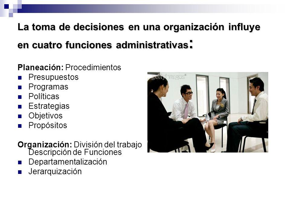 La toma de decisiones en una organización influye en cuatro funciones administrativas: