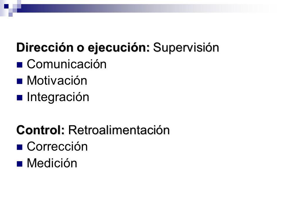 Dirección o ejecución: Supervisión