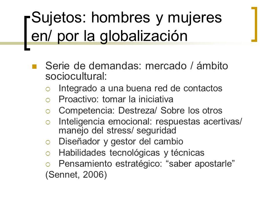 Sujetos: hombres y mujeres en/ por la globalización