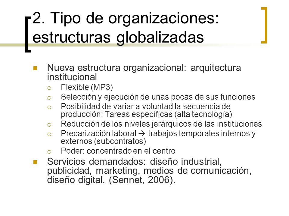 2. Tipo de organizaciones: estructuras globalizadas