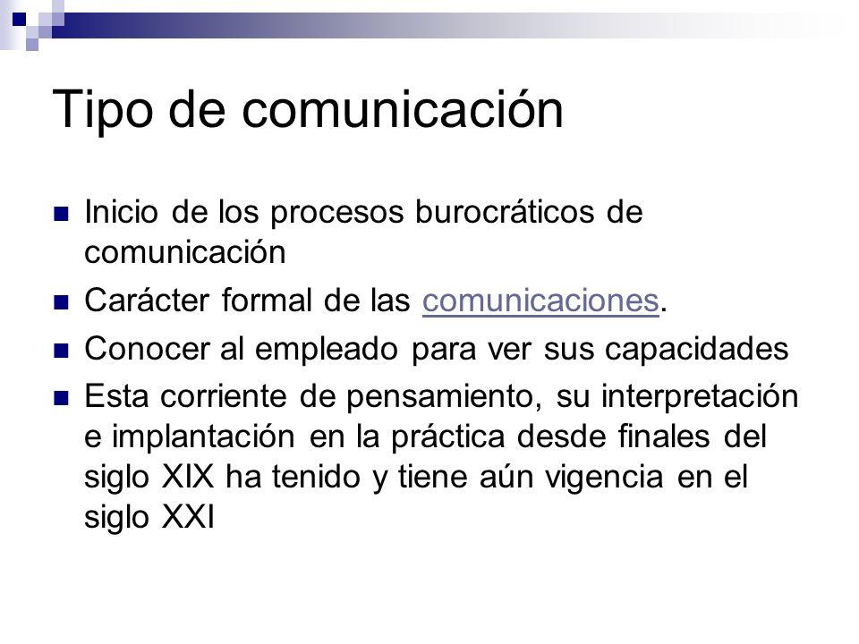 Tipo de comunicación Inicio de los procesos burocráticos de comunicación. Carácter formal de las comunicaciones.