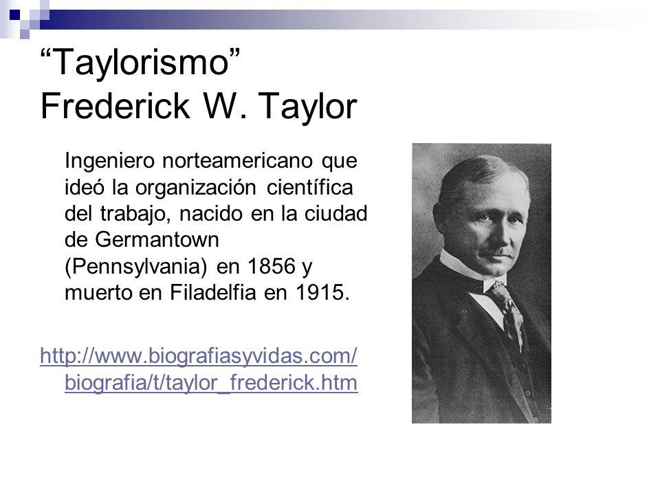 Taylorismo Frederick W. Taylor