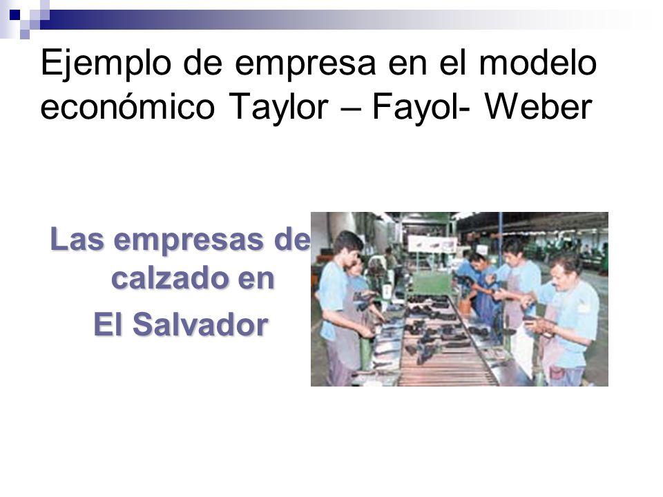 Ejemplo de empresa en el modelo económico Taylor – Fayol- Weber