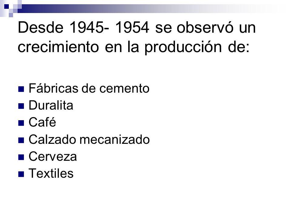 Desde 1945- 1954 se observó un crecimiento en la producción de: