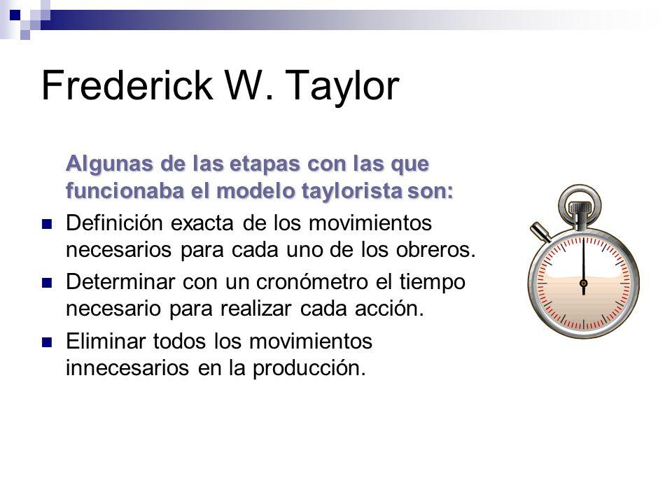 Frederick W. Taylor Algunas de las etapas con las que funcionaba el modelo taylorista son: