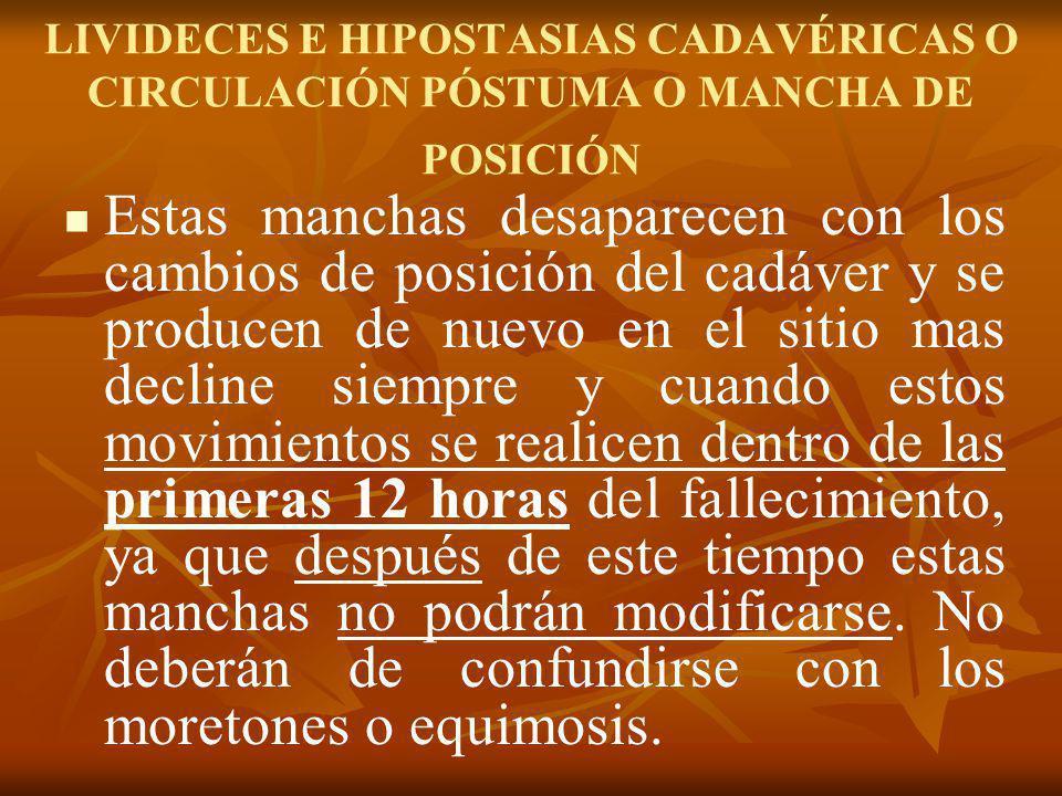 LIVIDECES E HIPOSTASIAS CADAVÉRICAS O CIRCULACIÓN PÓSTUMA O MANCHA DE POSICIÓN